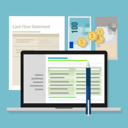 cash flow statement accounting software money calculator application laptop vector