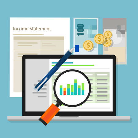 income statement accounting software money calculator application laptop vector