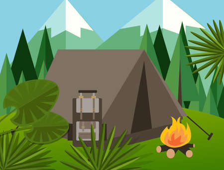jungle vector: camp forest mountain flat background illustration pine tree backpack fire jungle vector graphic green