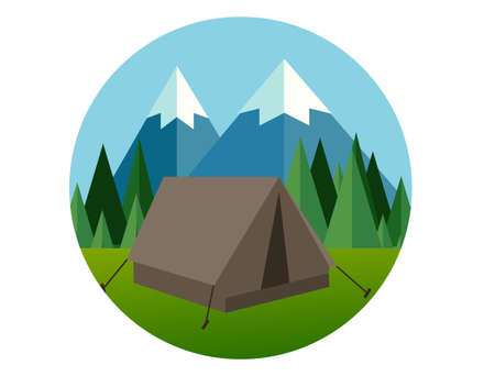 jungle vector: camp forest mountain flat graphic icon illustration pine tree  jungle vector graphic green blue sky