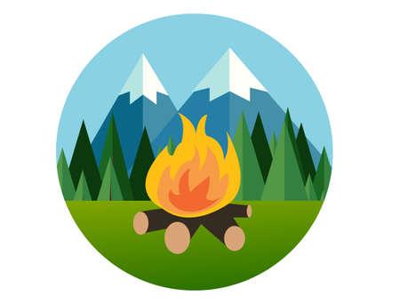arbol de pino: fuego de campamento en el bosque de montaña en plana icono del árbol de pino del vector ilustración gráfica de la selva