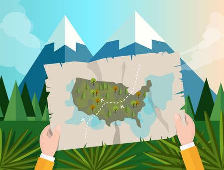 La mano que sostiene el mapa america caza de seguimiento en el cielo azul de la montaña del bosque del árbol gráfico de vector ilustración de dibujos animados de la selva de montaña Foto de archivo - 47465340