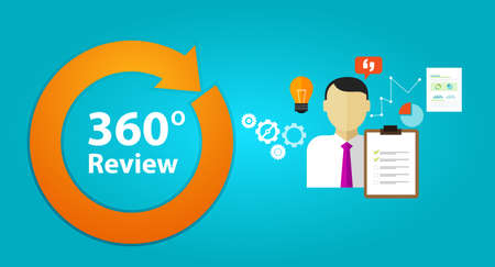 reviewing: 360 degree review feedback evaluation performance employee human resource assessment vector Illustration