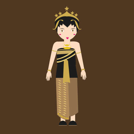 south asia: Indonesia javanese Traditional Costume java girls in clothes south east asia tradition vector Illustration