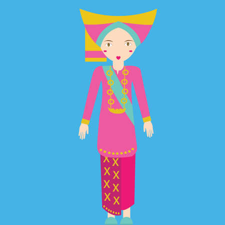 south asia: Indonesia minang padang sumatra Traditional Costume girls in clothes south east asia tradition vector