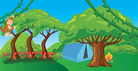 jungle scene: monkey in jungle cartoon forest illustration ape hanging tree vector