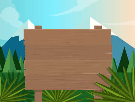sfondo giungla: jungle board sign wooden forest jungle background illustration vector tree mountain cartoon nature mountain sky