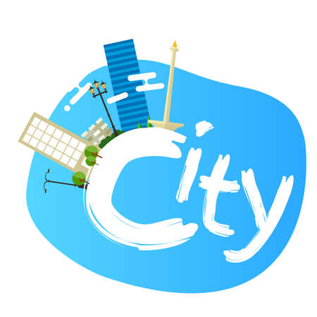 jakarta: jakarta indonesia city skyline vector illustration landscape architecture capital landmark panoramic text Illustration