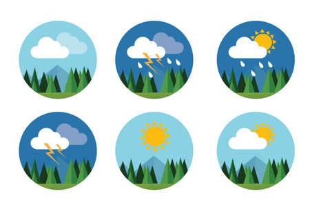 rainy: weather icon set flat vector forecast sky cloud sunny thunder with mountain
