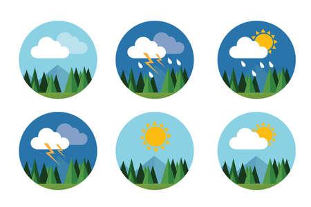weer pictogram set plat vector voorspelling hemel wolk zonnig donder met bergen Stock Illustratie