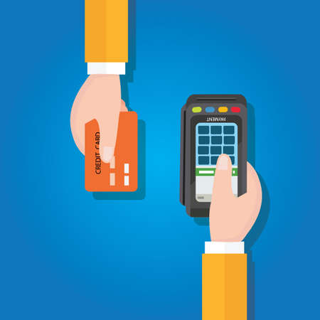tarjeta de credito: pago manos mercantes tarjeta de crédito vector plana ilustración pago edc transacción captura electrónica de datos azul
