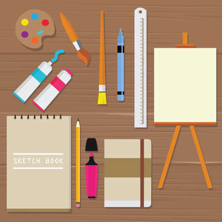 paper arts and crafts: painting icon vector object palette paint tools equipment art brush canvas sketch book oil tube ruler pencil vector