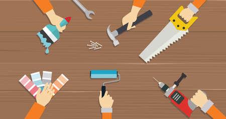 menuisier: charpentier outil outils de construction mains de réparation ont vu conducteur vis Illustrations plat