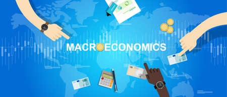 macro: macroeconomic macro economy concept business market financial world vector