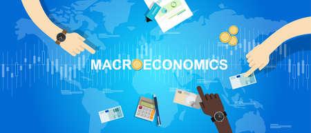 macroeconomic macro economy concept business market financial world vector