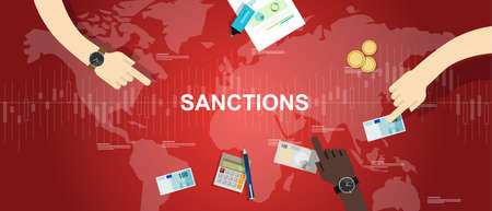 world economy: sanctions economy financial dispute illustration background graphic map world vector Illustration