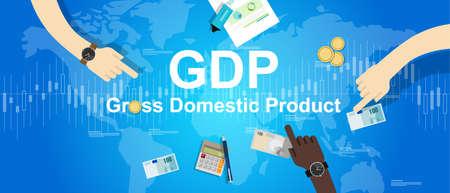 domestico: pib ilustración del producto interno bruto economía financiera gráfico de fondo mapa del mundo vector Vectores