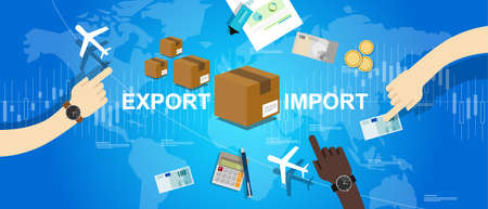 commercial sign: export import global trade world map market international vector