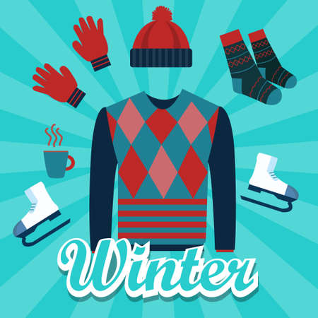 winter gloves: winter object icon set flat illustration items such as sweater, hat, hand glove, shocks, hot drinks, ice skating shoes vector Illustration