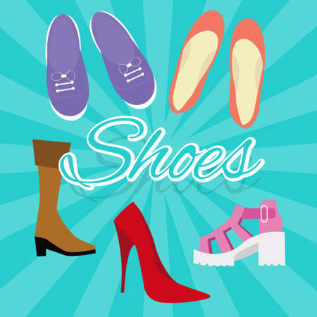 flat shoes: woman shoes vector set illustration in flat style things like high heels, flat shoes, boots, sneaker from top drawing