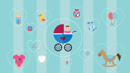 diapers: baby icon object collection set with soft color and object such as stroller, horse, toys, diapers, clothes and bottle vector