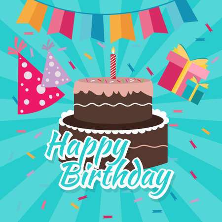 bright cake: celebrate happy birthday cake flat illustration vector greetings colorful icon bright color drawing