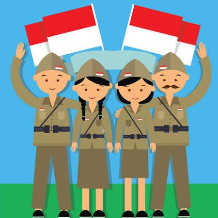 独立記念日ハリ フロント 17 agustus 1945 ベテラン インドネシア戦闘機ムルデカ男と家シチュウキン軍事制服ベクトルで  イラスト・ベクター素材