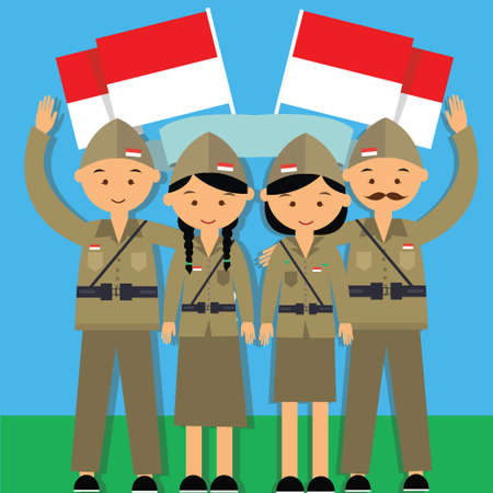 female warrior: independence day hari pahlawan 17 agustus 1945 veteran indonesia fighter merdeka man and mowan in military uniform vector