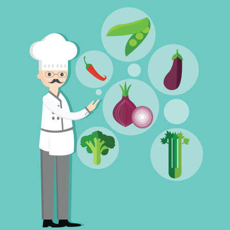 the fresh: chef character cartoon with hat and vegetables vegetarian ingredients onion, peas, chili, broccoli vector