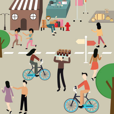walk of life: care free day illustration people man woman jogging bicycle hang around sport exercise on street vector