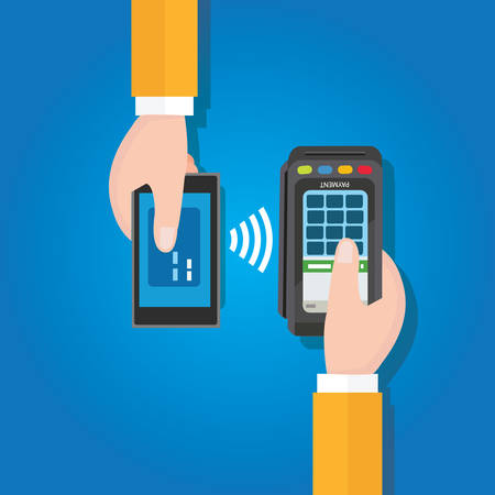 mobile device: NFC near field communication mobile payment man holding smart phone cashier with edc terminal in hand flat vector drawing Illustration
