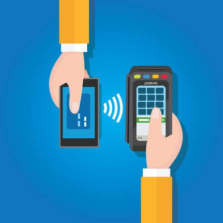 poblíž: NFC Near Field Communication mobilní platební muže, který držel chytrý telefon pokladní s EDC terminálem v ruce ploché vektorové kreslení