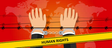 against: human rights freedom illustration hands under wire crime against humanity activism symbol handcuff drawing Illustration