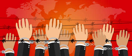 demonstrator: human rights freedom illustration hands under wire crime against humanity activism symbol handcuff drawing Illustration