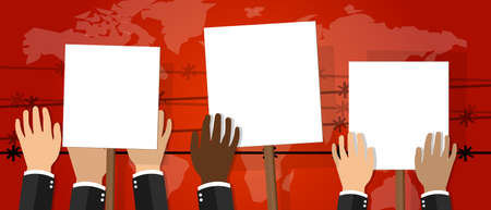 protest sign: crowd people holding protest sign white placard vector illustration of strike activism protesters anger revolt drawing Illustration