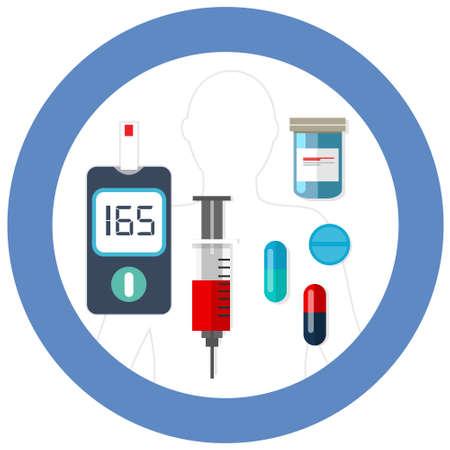 día mundial de la diabetes símbolo círculo azul con el dibujo prueba de glucosa en la sangre del vector del icono de insulina asistencia sanitaria farmacia de medicamentos