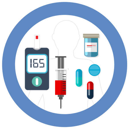 diabetes syringe: world diabetes day blue circle symbol with icon vector blood glucose test insulin drug pharmacy health care drawing