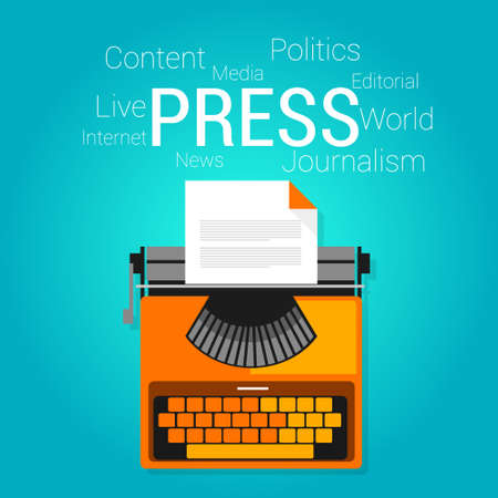 press release: press journalism symbol type writer writing editorial vector flat illustration concept drawing