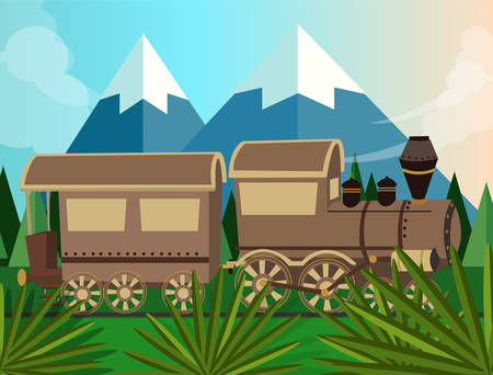 steam locomotive: old train steam vector locomotive cartoon in jungle green drawing Illustration