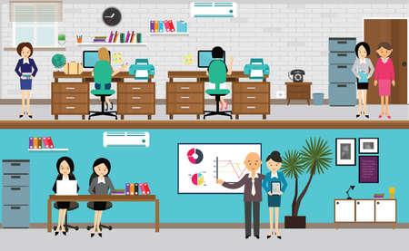 mensen die werkzaam zijn op het kantoor in flat vector illustratie drukke teamwork aan de balie computer staan presentatie tekening