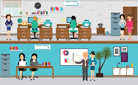 office presentation: people working at office in flat vector illustration busy teamwork at desk computer standing presentation drawing