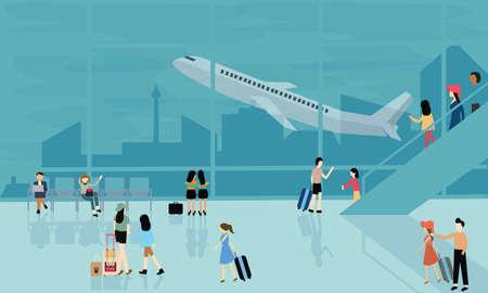 mensen op de luchthaven van vector reisactiviteiten illustratie vertrek aankomst vlucht vliegtuig drukke wandelen Stock Illustratie