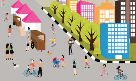 convivencia familiar: gente haciendo footing por carretera en actividades al aire libre urbano día sin coches caminando diversión