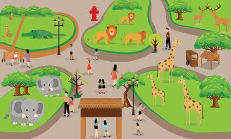 dierentuin cartoon mensen gezin met dieren scene vector illustratie achtergrond van boven landschap tekening