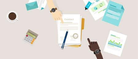 Muestra del papel de acuerdo acuerdo de contrato de lápiz mano en el mostrador de dos personas de negocios ilustración vectorial plana superior