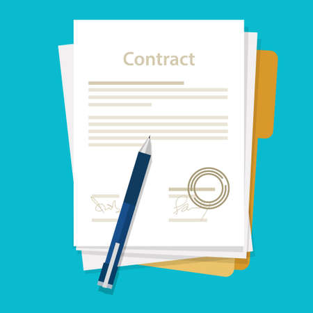 signed paper deal contract icon agreement  pen on desk  flat business illustration vector drawing  イラスト・ベクター素材