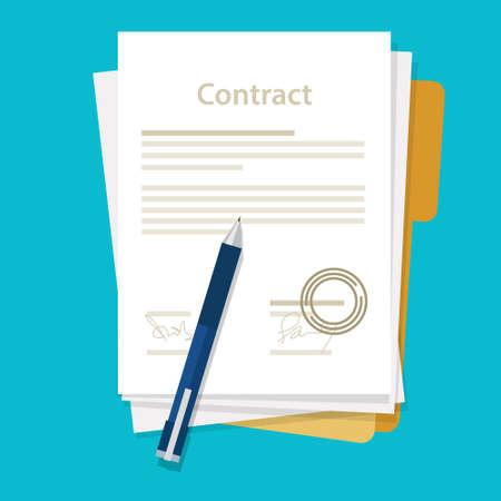 contratos: firmado contrato convenga papel icono de acuerdo pluma en el escritorio del negocio del ejemplo plana de dibujo vectorial