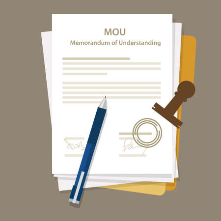 contrato de trabajo: mou memorando de entendimiento acuerdo documento legal sello vector