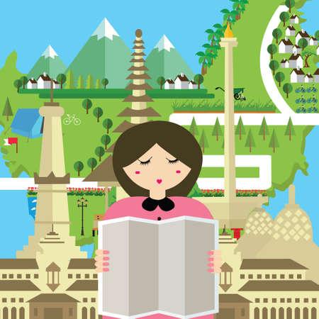 woman people read map indonesia tourism bali bandung jakarta yogyakarta monument travel asia vector Illustration