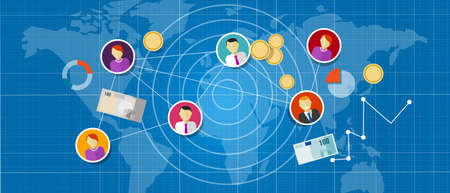 referral: affiliate marketing multi level mlm network sales connected people concept Illustration